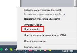 Выбор раздела «Принять файл»