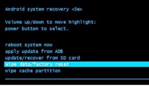 Удаление данных/возврат к заводским настройкам