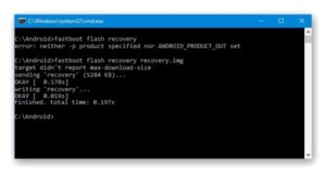 Ввести fastboot flash recovery update.img