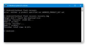 Ввести fastboot flash recovery update.img